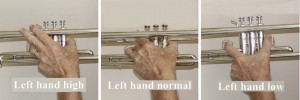 Trumpet left hand playing positions